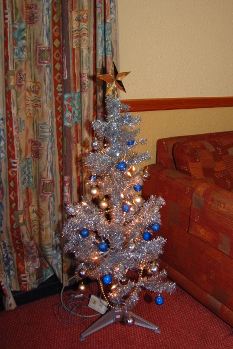 Christmas tree in our villa at Sherwood Forest Center Parcs (not the official Christmas tree)