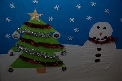 Christmas craft picture - Tree and Snowman