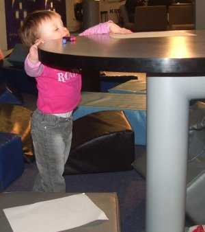 Example of the high tables in the Coventry Transport Museum