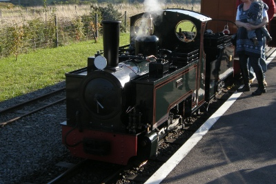 Train at Evesham Light Railway in Worcestershire
