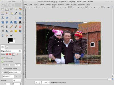 GIMP screenshot using elipse select tool