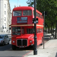 Traditional red London bus