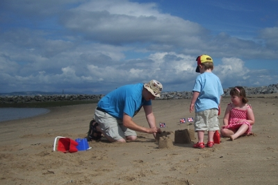 Building sandcastles on Morecambe beach (east bay)