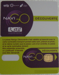 Paris Navi - Metro train pass