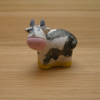 Craft - painted Cow at Wyn Abbot pottery