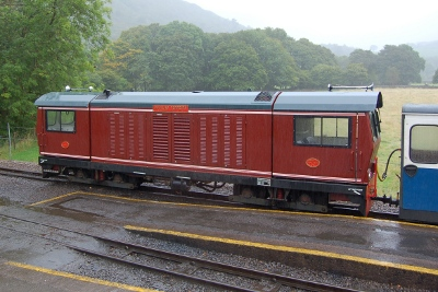 Diesel train on the Ravenglass and Eskdale Railway