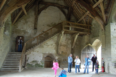 Stokesay Castle - great hall, wooden roof and staircase