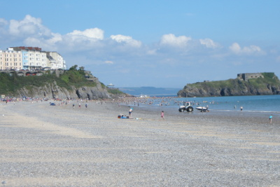 Beach near Haven Kiln Park - showing Tenby, Wales