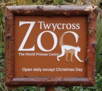 Sign for Twycross Zoo, Warwickshire